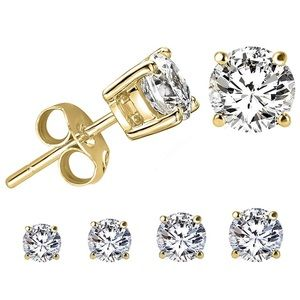 Jewelry - RGP Gold CZ Solitaire Diamond Stud Earrings